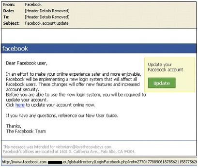 Facebook: phishing e malware