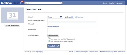 Facebook nuovo evento