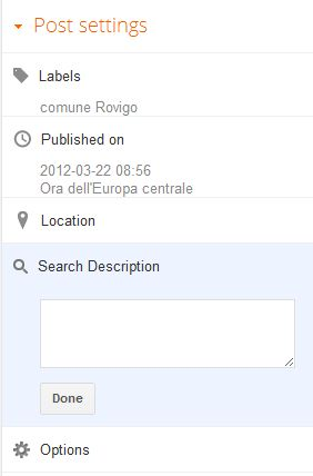 blogger - post settings - search description