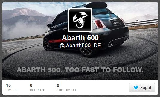 twitter - FIAT Abarth 500 - too fast to follow
