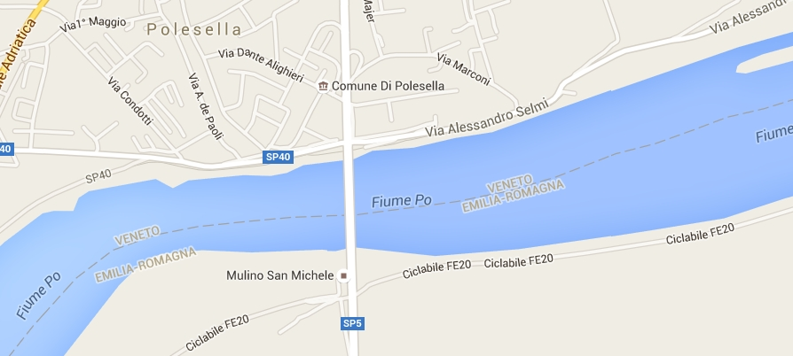 ciclabile FE20 (destra Po) in Google Maps