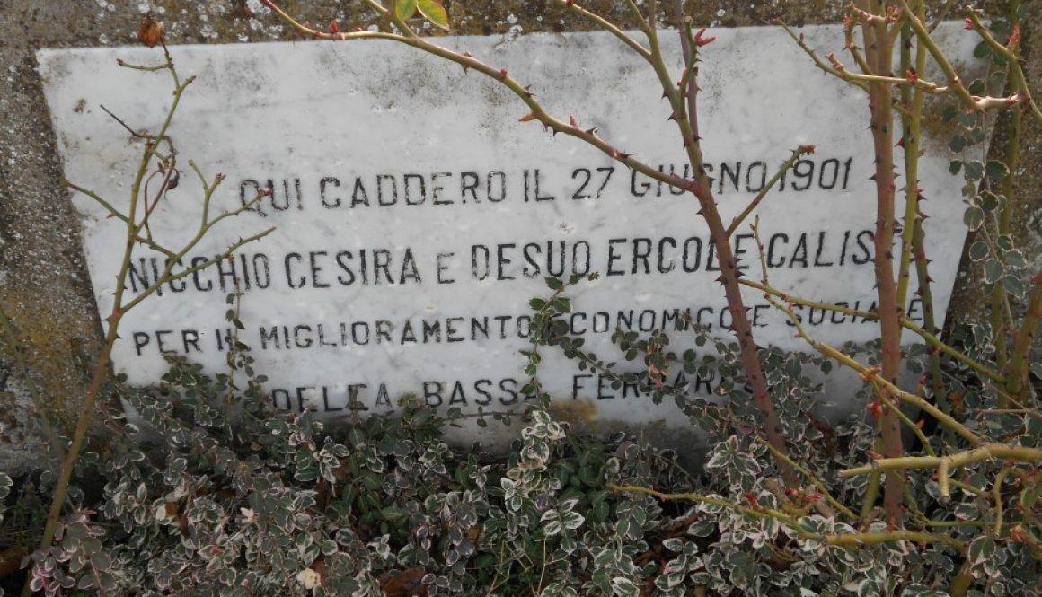 lapide, eccidio, Cesira Nicchio, Callisto Ercole Desuo, 1901, ponte Albersano, Serravalle, Berra