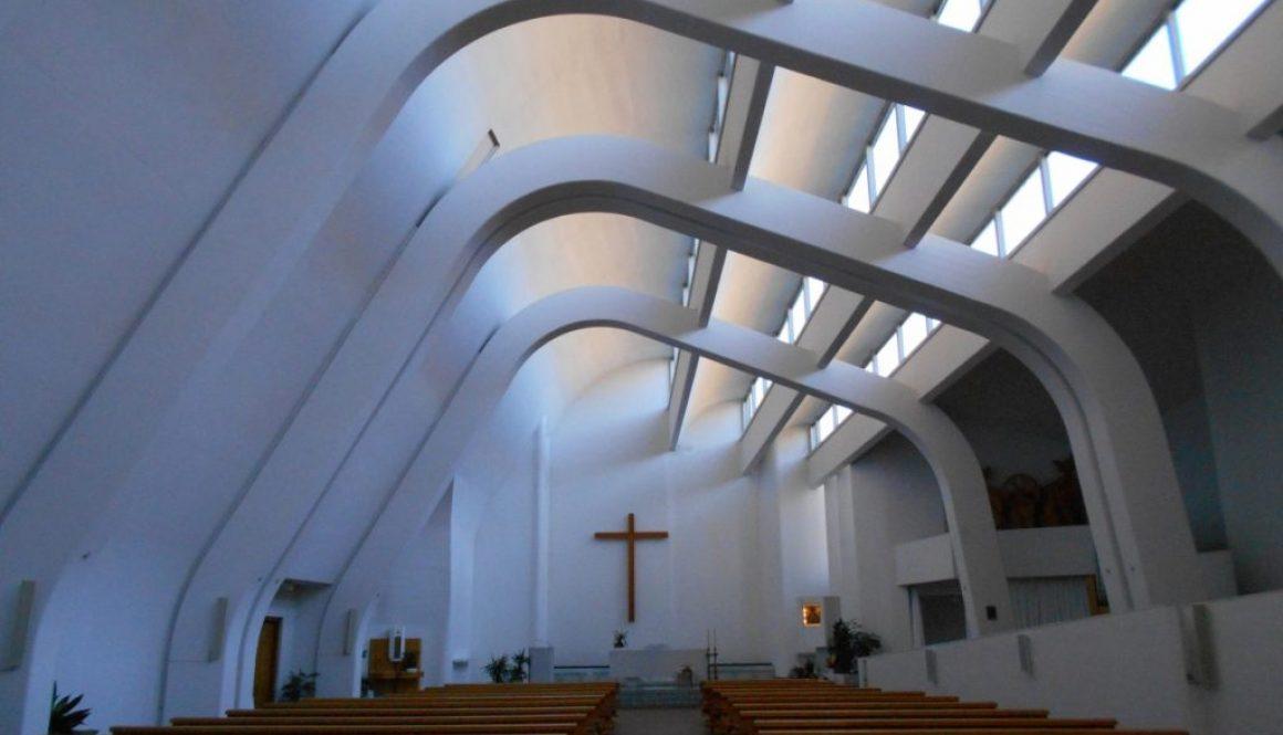interno, Chiesa di Santa Maria Assunta, Alvar Aalto, Riola, Vergato
