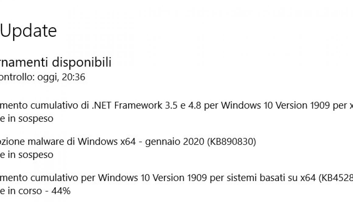 aggiornamento cumulativo per Windows 10 Version 1909