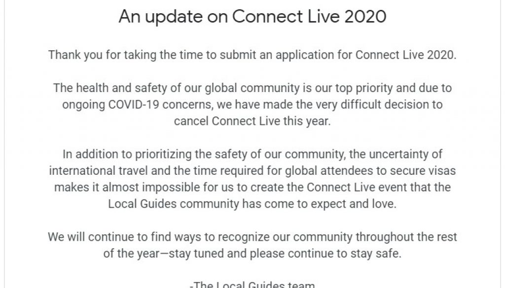 Connect Live 2020 Google